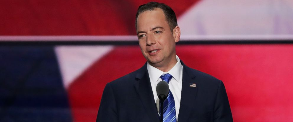 PHOTO: Reince Priebus, chairman of the Republican National Committee, delivers a speech during the evening session on the fourth day of the Republican National Convention, July 21, 2016 at the Quicken Loans Arena in Cleveland, Ohio.
