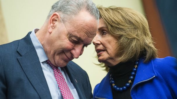PHOTO: Senate Minority Leader Charles Schumer and House Minority Leader Nancy Pelosi attend a news conference to voice opposition to House Republican's health care plan, the American Health Care Act, March 14, 2017.