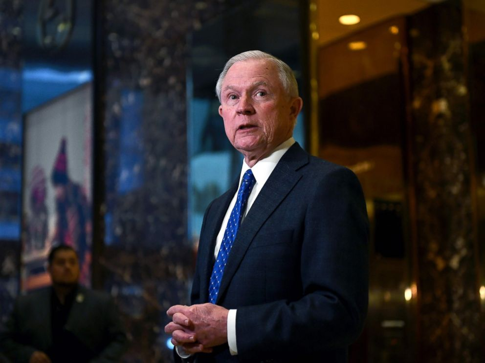 PHOTO: Sen. Jeff Sessions of Alabama talks to the media at the Trump Tower in New York, Nov. 17, 2016.