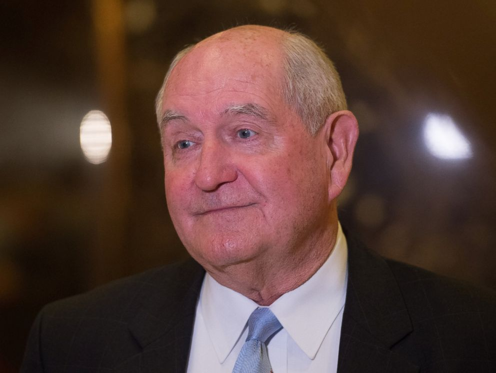 PHOTO: Former Georgia governor Sonny Perdue speaks to the media in the lobby of Trump Tower, Nov. 30, 2016, in New York.