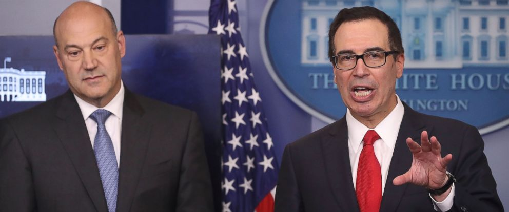 PHOTO: Secretary of the Treasury Steven Mnuchin, right, and National Economic Director Gary Cohn speak about President Donald Trumps new tax reform plan at the White House, April 26, 2017 in Washington.