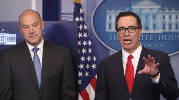 PHOTO: Secretary of the Treasury Steven Mnuchin, right, and National Economic Director Gary Cohn speak about President Donald Trump's new tax reform plan at the White House, April 26, 2017 in Washington.