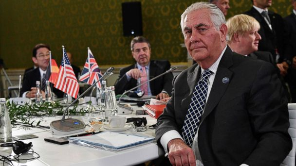 PHOTO: Secretary of State Rex Tillerson sits at a table on the second day of a meeting of Foreign Affairs Ministers from the Group of Seven industrialized countries, April 11, 2017, in Lucca, Tuscany.