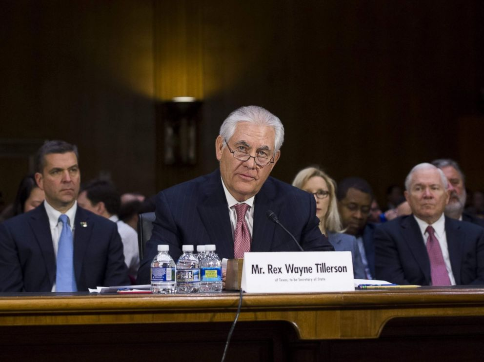 PHOTO: Former ExxonMobil executive Rex Tillerson testifies during his confirmation hearing for Secretary of State before the Senate Foreign Relations Committee on Capitol Hill in Washington, Jan. 11, 2017.