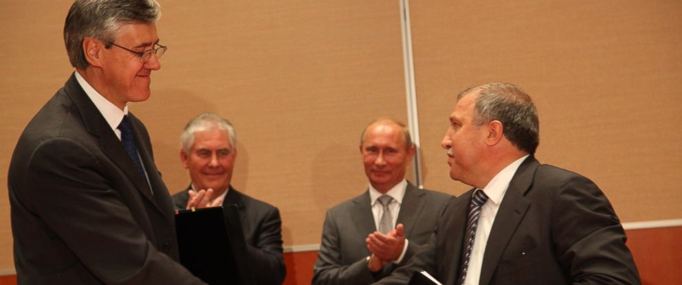 PHOTO: Russian President, Vladimir Putin, Rosneft President Eduard Hudainatov and Rex Tillerson are seen during a signing ceremony for an arctic oil exploration deal between Exxon Mobil and Rosneft, Aug. 30, 2011 in Sochi, Russia.