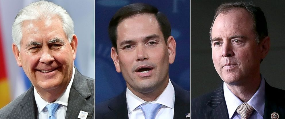 "PHOTO: Rex Tillerson, left, Marco Rubio and Adam Schiff to appear on ""This Week."""