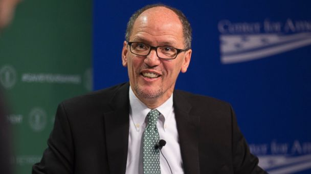 PHOTO: U.S. Labor Secretary Thomas E. Perez hosts an event to discuss the administration's new fiduciary rule governing personal investing at the Center for American Progress, April 6, 2016 in Washington, D.C.