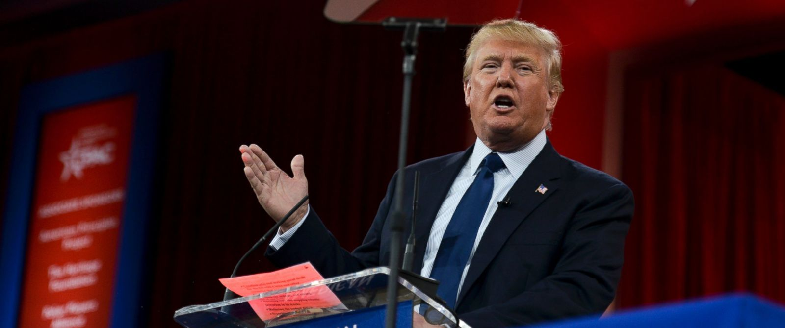 PHOTO: Donald Trump speaks during CPAC2015 (Conservative Political Action Conference) at the National Harbor Gaylord, Feb. 27, 2015, in Oxon Hill, Maryland.