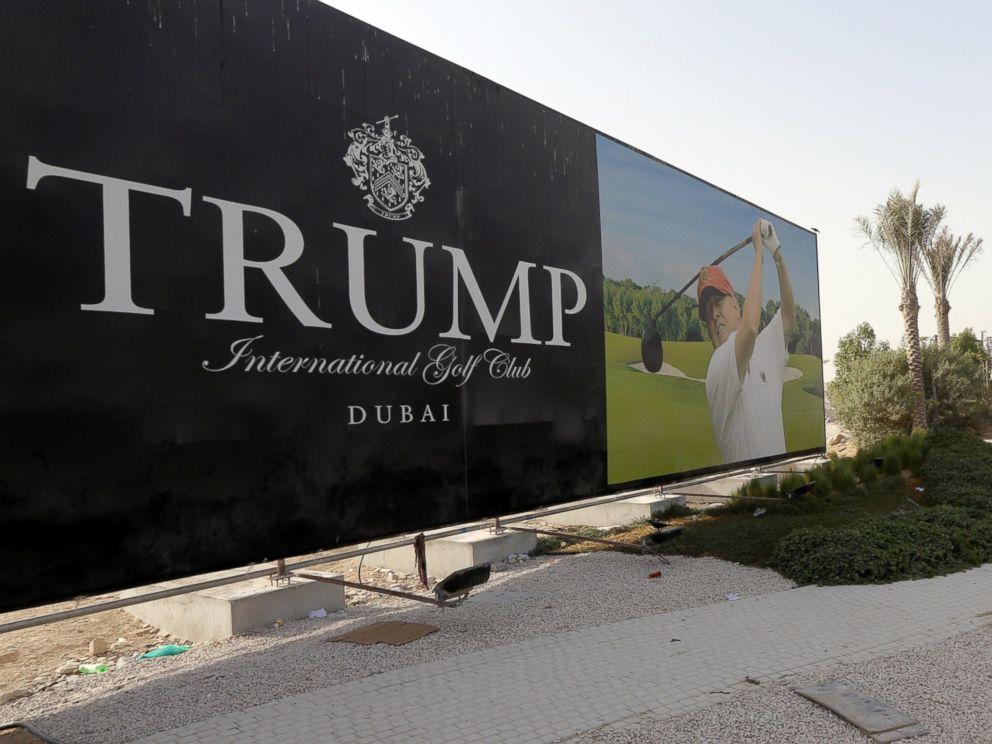 PHOTO: Donald Trump is seen playing golf on a billboard at the Trump International Golf Club Dubai in the United Arab Emirates, Aug. 12, 2015.