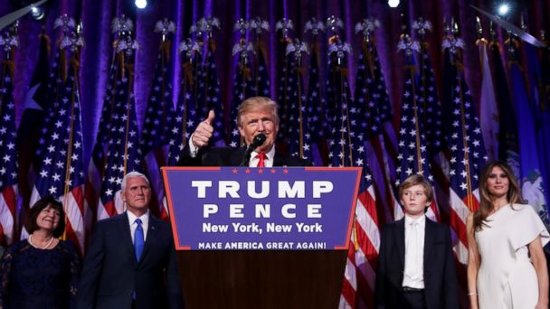 PHOTO: Donald Trump delivers his acceptance speech during his election night event at the New York Hilton Midtown, Nov. 9, 2016, in New York City.