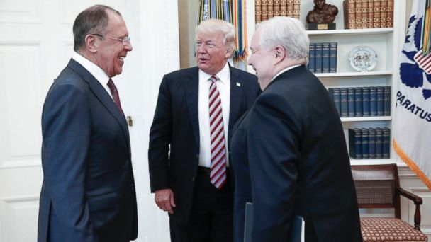 PHOTO: President Donald Trump (C) speaks with Russian Foreign Minister Sergei Lavrov (L) and Russian Ambassador to the U.S. Sergei Kislyak during a meeting at the White House in Washington, D.C., May 10, 2017.