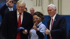 PHOTO: President-elect Donald Trump and Vice President-elect Governor Mike Pence(R) visit the Carrier air conditioning and heating company in Indianapolis, Indiana, Dec. 1, 2016.