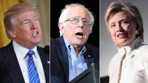 PHOTO: (L-R) President Donald Trump in Washington, D.C., June 23, 2017, Sen. Bernie Sanders in Pittsburgh, June 24, 20167 and Hillary Rodham Clinton in New York City, June 7, 2017.