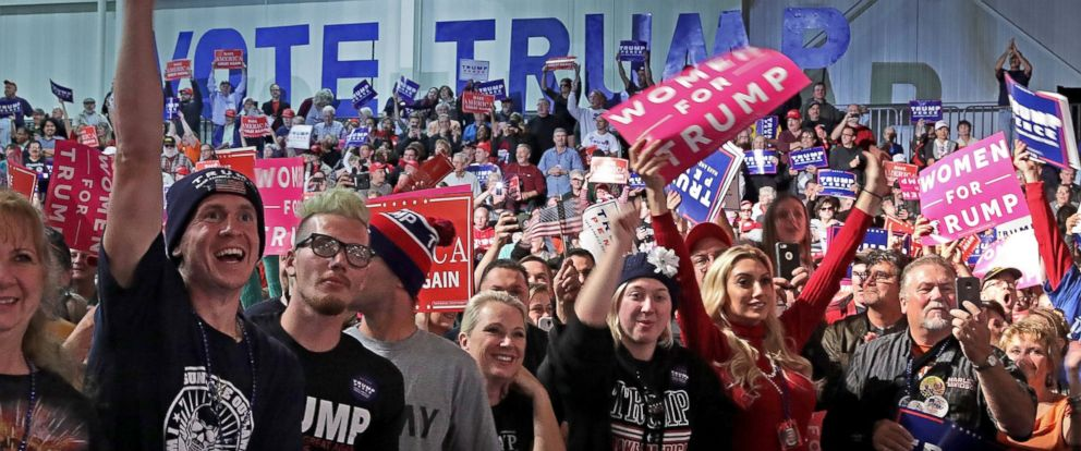 PHOTO: Supporters cheer for Republican presidential nominee Donald Trump during a campaign rally at Macomb Community College South Campus, Oct. 31, 2016, in Warren, Michigan.