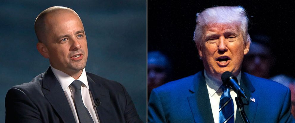 PHOTO: Evan McMullin, who has launched an independent presidential bid, spoke to ABC Newss Tom Llamas, Aug. 8, 2016; Republican presidential candidate Donald Trump speaks at the Merrill Auditorium, Aug. 4, 2016, in Portland, Maine.