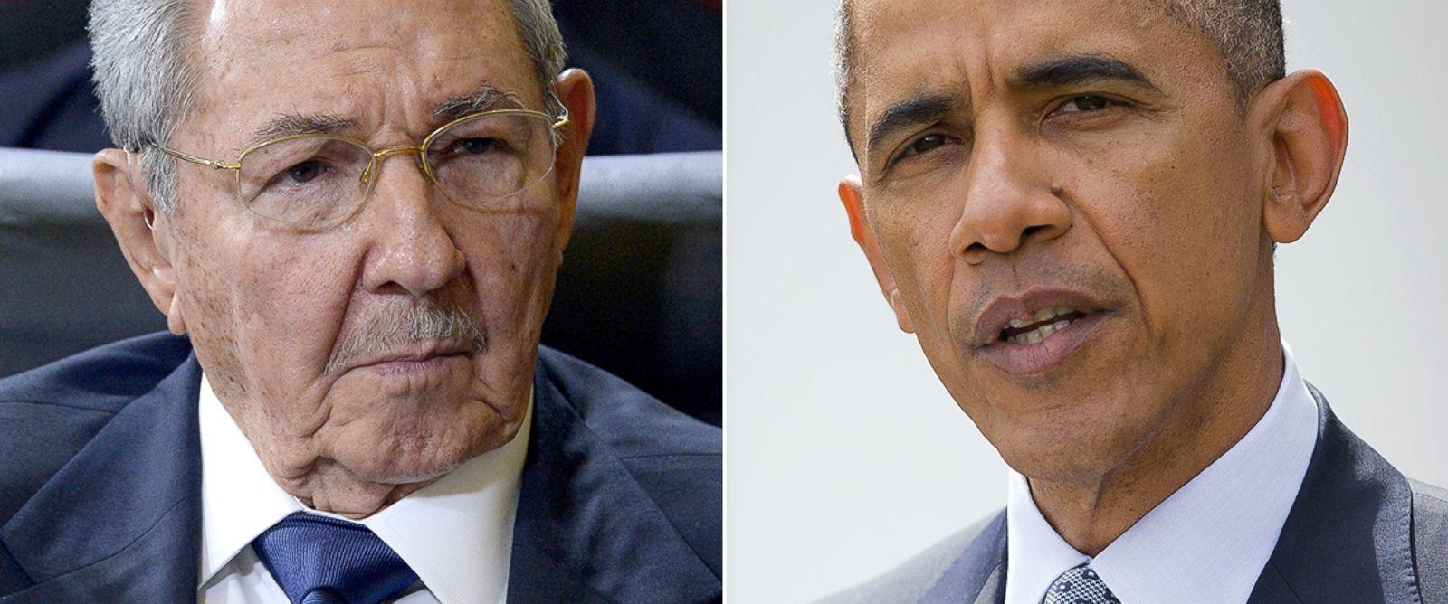 PHOTO: Raul Castro, left, and Barack Obama.