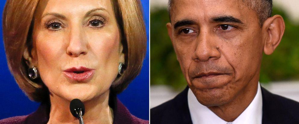 PHOTO: Carly Fiorina, left, and President Barack Obama.