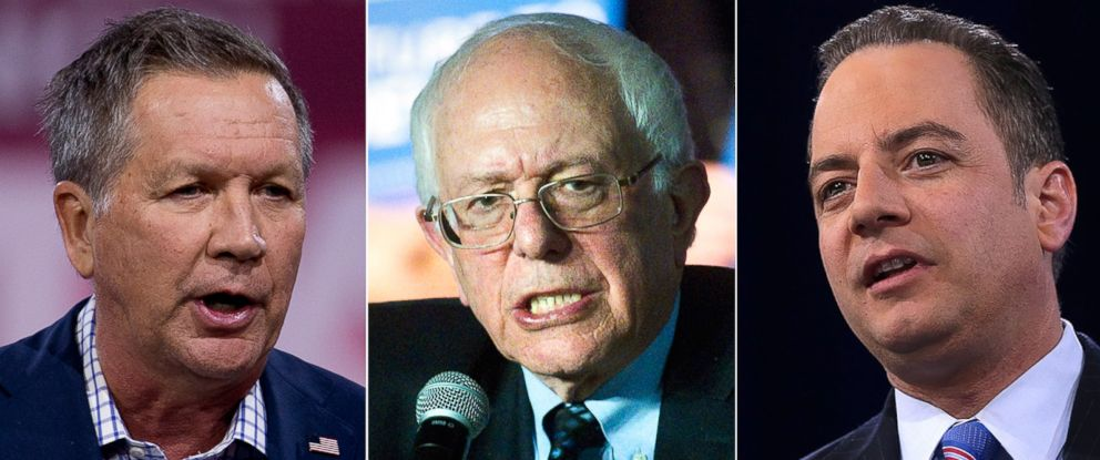 PHOTO: Pictured (L-R) on March 4, 2016 are Republican presidential candidate, Ohio Gov. John Kasich in National Harbor, Md., Democratic presidential candidate Bernie Sanders in Traverse City, Mich., and Reince Priebs in National Harbor, Md.