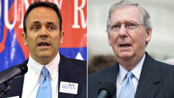 GTY AP matt bevin mitch mcconnell split sr 140224 16x9 608 Conservative Groups Spin a Loss in Kentucky Senate Primary