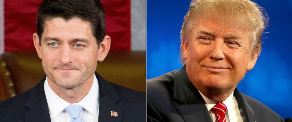 PHOTO: (L-R) Newly elected House Speaker Paul Ryan of Wis., in Washington, Oct. 29, 2015. | Presidential candidates Donald Trump in Boulder, Colo., Oct. 28, 2015.