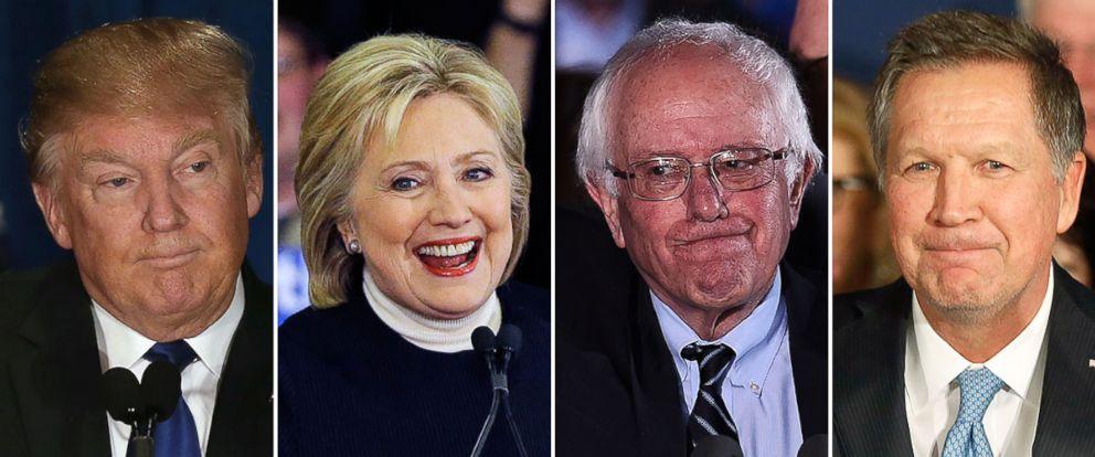 PHOTO: Donald Trump, Hillary Clinton, Sen. Bernie Sanders and Gov. John Kasich.