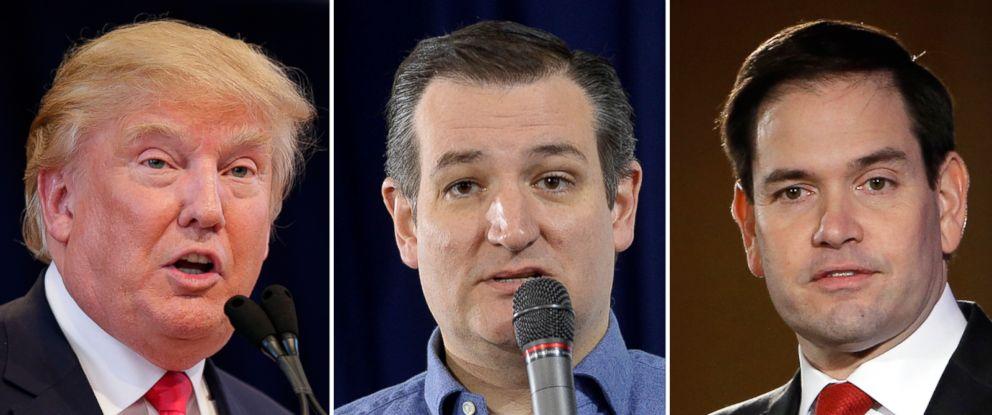 PHOTO: Donald Trump speaks during a campaign event Jan. 23, 2016 in Pella, Iowa. | Sen. Ted Cruz speaks at Exeter Town Hall Jan. 20, 2016 in Exeter, N. H.. | Sen. Marco Rubio speaks on Jan. 23, 2016 in Nashua, N.H.