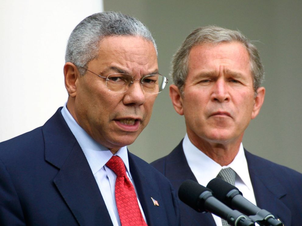 PHOTO: Secretary of State Colin Powell speaks during a press conference on terrorism with President George W. Bush, Sept. 24, 2001, in the Rose Garden at the White House, in Washington.