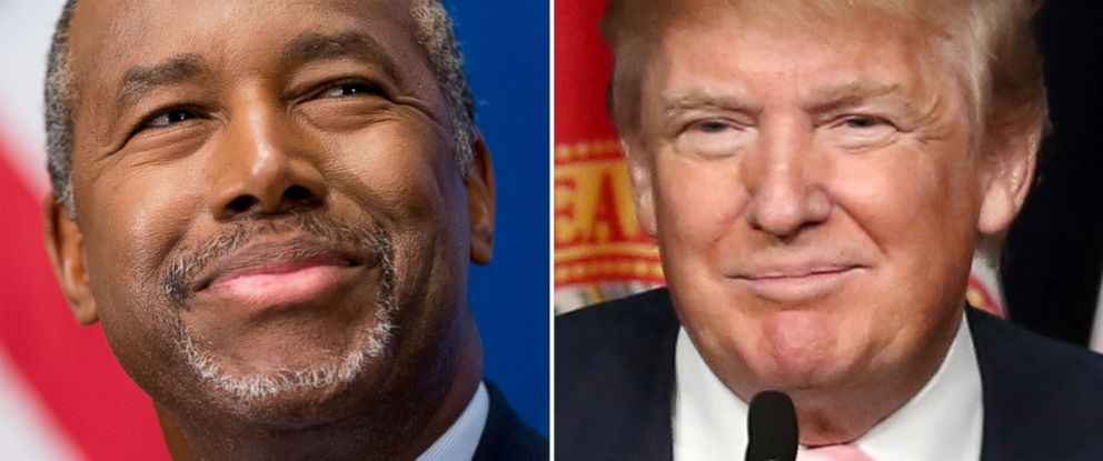 PHOTO: Republican presidential candidate Dr. Ben Carson speaks at a luncheon at the National Press Club in Washington on Oct. 9, 2015 and Presidential candidate Donald Trump is seen campaigning at Trump National Doral on Oct. 23, 2015 in Doral, Fla.