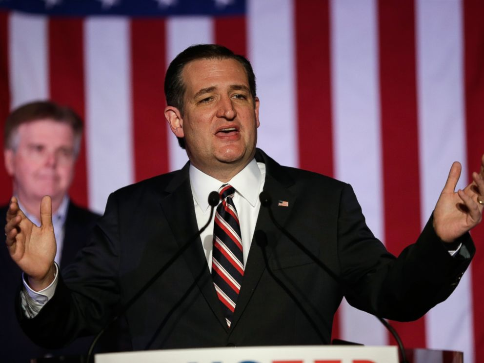 PHOTO: Republican presidential candidate Sen. Ted Cruz (R-TX) speaks at a watch party on March 15, 2016 in Houston, Texas.