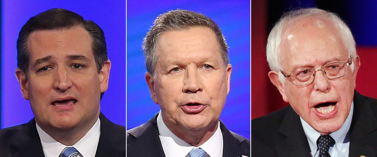PHOTO: Republican presidential candidate Sen. Ted Cruz on Feb. 6, 2016 | Republican presidential candidate Ohio Gov. John Kasich on March 10, 2016 | Democratic presidential candidate Senator Bernie Sanders on Jan. 17, 2016.