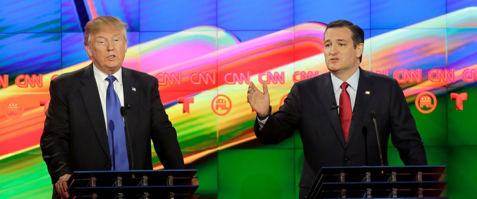 PHOTO: Republican presidential candidates Donald Trump and Sen. Ted Cruz (R-TX) at the Republican presidential primary candidate debate sponsored by CNN and Telemundo at the University of Houston on Feb. 25, 2016, in Houston, TX.