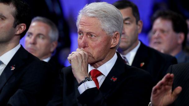 PHOTO: Former President Bill Clinton becomes emotional as he listens to his daughter Chelsea introduce her mother, Democratic presidential nominee Hillary Clinton, on the fourth day of the Democratic National Convention, July 28, 2016 in Philadelphia.