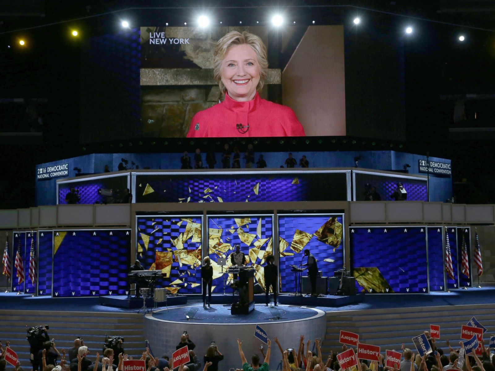 PHOTO: Democratic presidential candidate Hillary Clinton is shown on a screen at the end of the evening session on the second day of the Democratic National Convention, July 26, 2016 in Philadelphia.