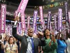 PHOTO: Delegates stand and cheer as first lady Michelle Obama delivers remarks on the first day of the Democratic National Convention, July 25, 2016 in Philadelphia.