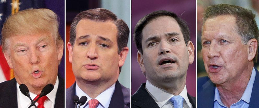 PHOTO: Republican presidential candidates Donald Trump, Sen. Ted Cruz, Sen. Marco Rubio and Ohio Gov. John Kasich.