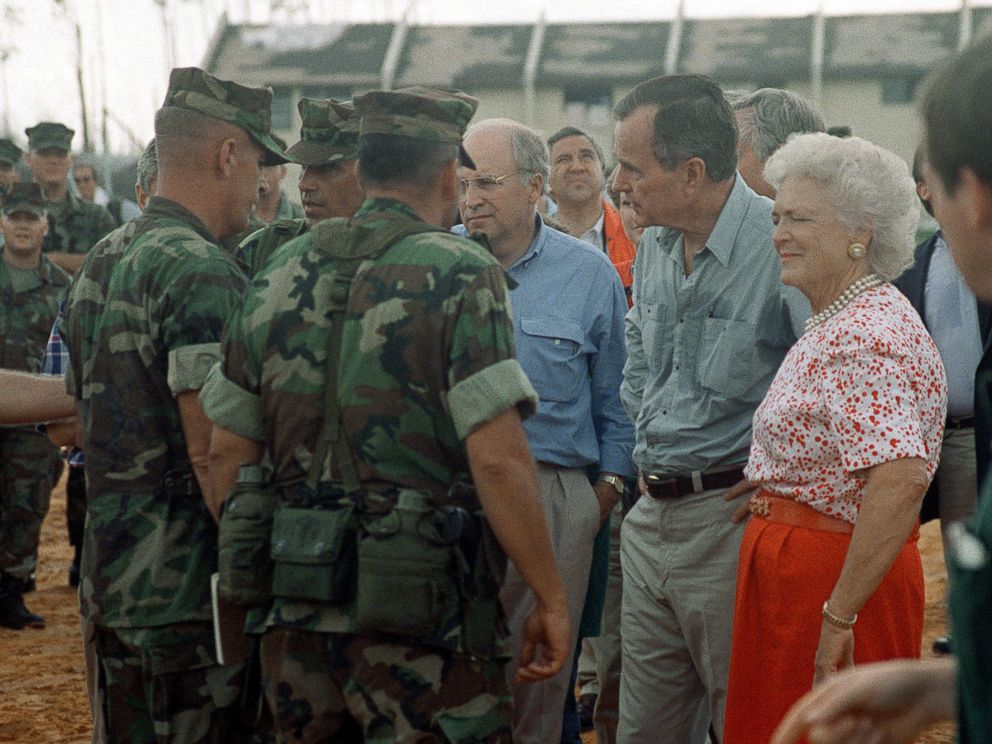 PHOTO: President George Bush, Barbara Bush, and Secretary of Defense Richard Cheney visit with Marines taking part in the disaster relief efforts in the aftermath of Hurricane Andrew, in Homestead, Florida, on Sept. 1, 1992.