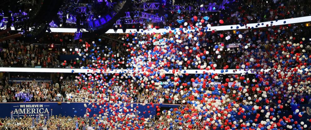 PHOTO: In this file photo, balloons drop on stage during the final day of the Republican National Convention at the Tampa Bay Times Forum, Aug. 30, 2012, in Tampa, Fla.