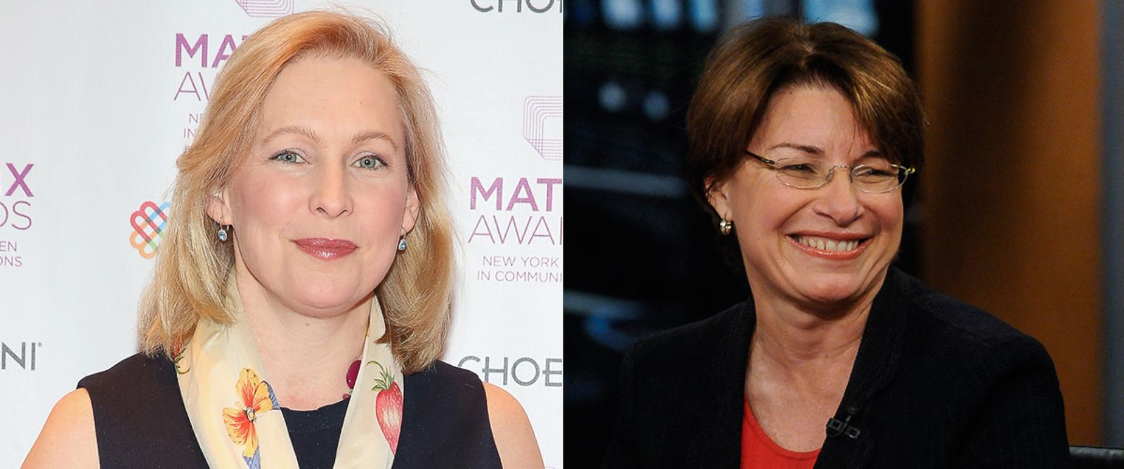 "PHOTO: Kristen Gillibrand attends the 2015 Matrix Awards, April 27, 2015 in New York. Amy Klobuchar appears on ""Meet the Press"" in Washington, April 28, 2013."