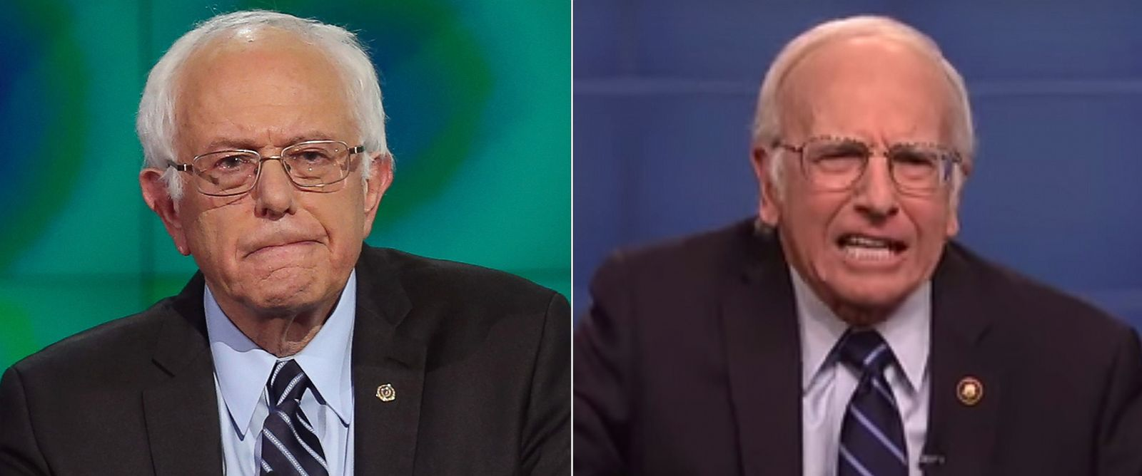 "PHOTO: Democratic presidential candidate Sen. Bernie Sanders in a presidential debate in Las Vegas, Oct. 13, 2015. Right, Larry David on Saturday Night Lives ""Democratic Debate Cold Open 