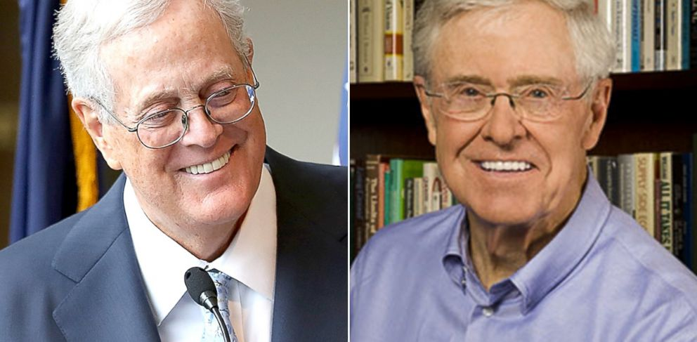PHOTO: David Koch, left, and Charles Koch