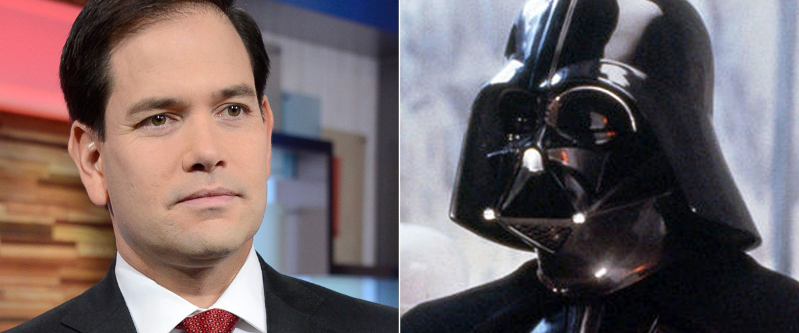 "PHOTO: Marco Rubio, left, on the set of ""Good Morning America,"" Nov. 4, 2015. At right, Darth Vader from ""Star Wars."""