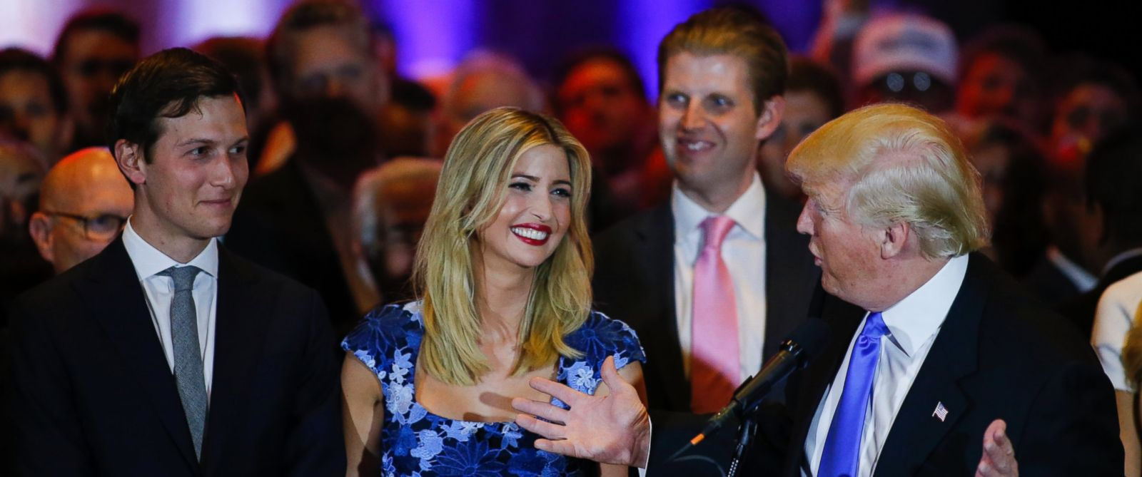 PHOTO: Jared Kushner (L) looks on as his wife Ivanka Trump smiles at her father, Republican presidential front runner Donald Trump, during his speech to supporters and the media at Trump Tower in Manhattan, on May 3, 2016 in New York City.
