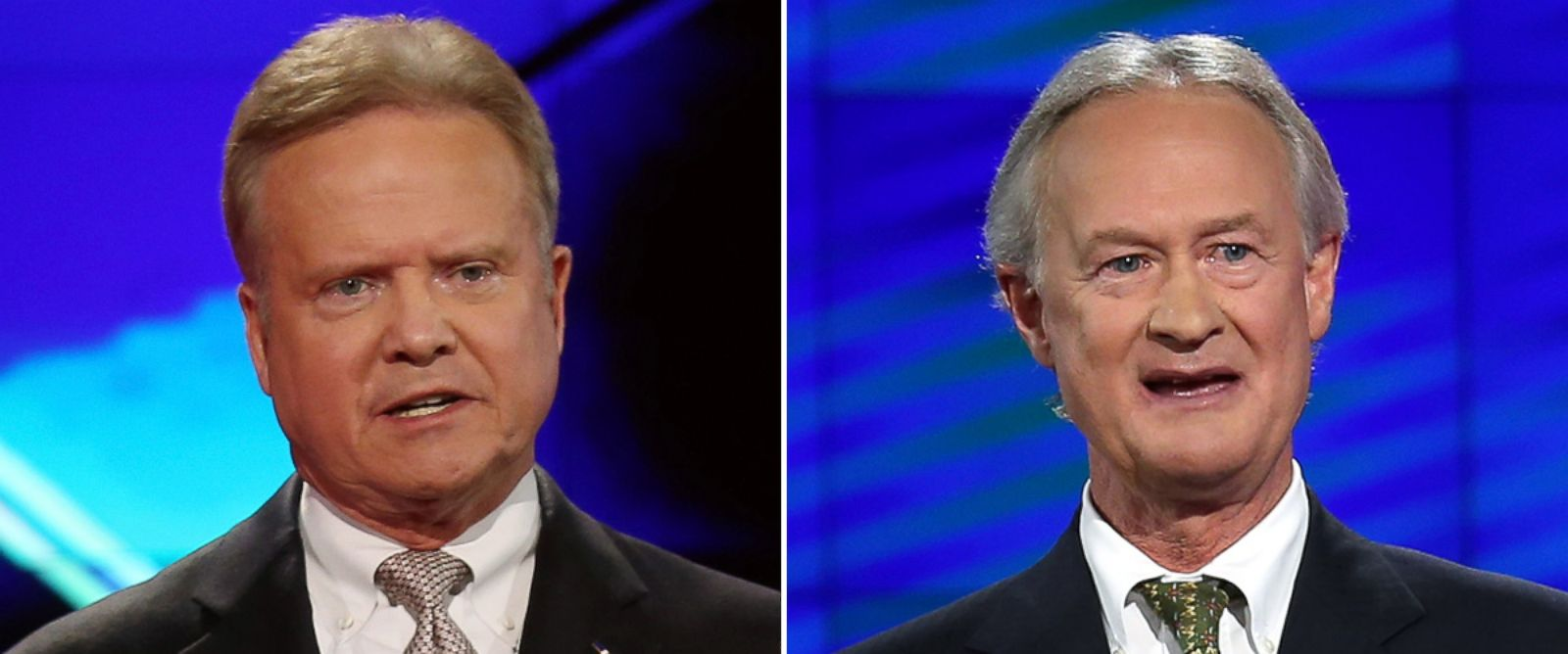 PHOTO: Democratic presidential candidates Jim Webb and Lincoln Chafee take part in a presidential debate sponsored by CNN and Facebook at Wynn Las Vegas on Oct. 13, 2015 in Las Vegas.