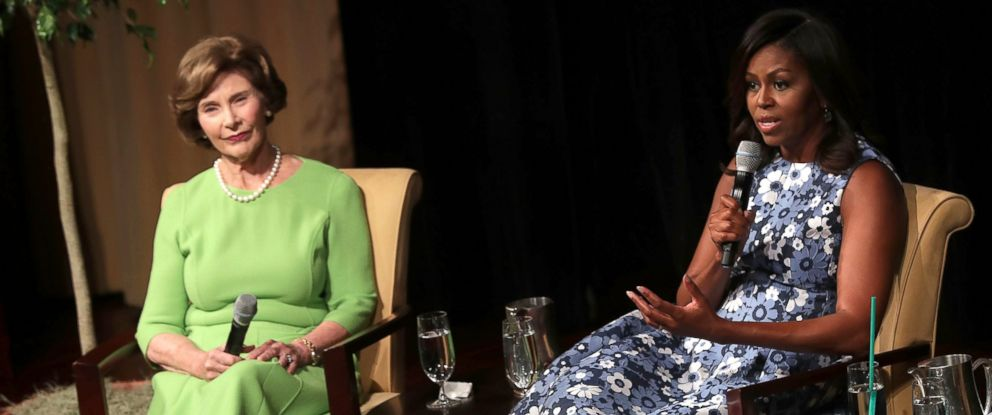 PHOTO: U.S. first lady Michelle Obama and former first lady Laura Bush participate in a discussion on the long tradition of Americas First Ladies supporting troops, veterans, and military families, Sept. 16, 2016, at the National Archives in Washington.