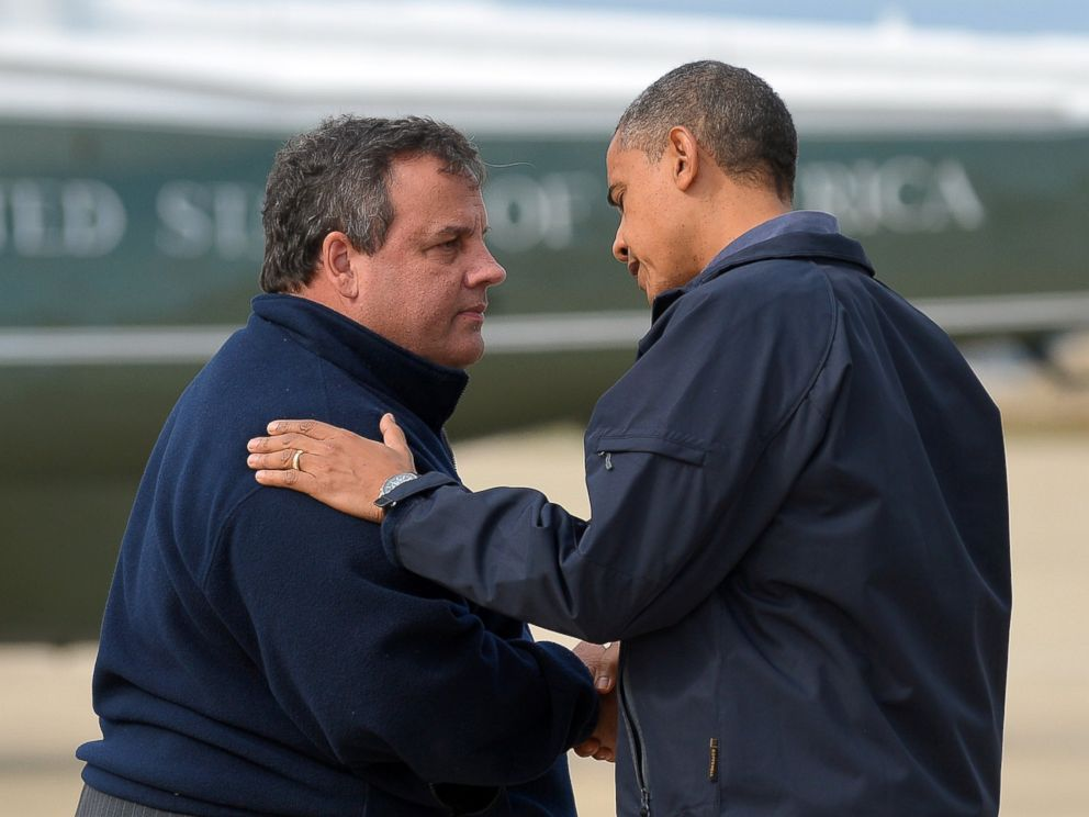 PHOTO: U.S. President Barack Obama (R) is greeted by New Jersey Governor Chris Christie upon arriving in Atlantic City, New Jersey, on Oct. 31, 2012, to visit areas hardest hit by the unprecedented Hurricane Sandy.