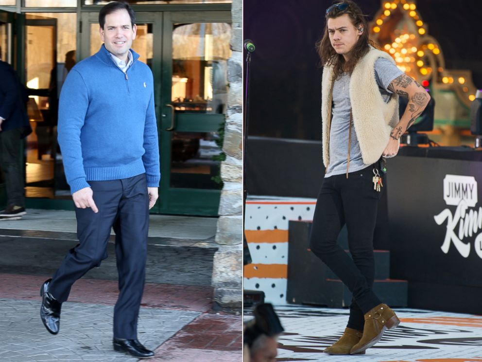 PHOTO:Republican presidential candidate Sen. Marco Rubio leaves a campaign stop, Jan. 3, 2016, in Atkinson, N.H. Harry Styles of the band One Direction is seen on Jimmy Kimmel Live, Nov. 19, 2015 in Los Angeles.
