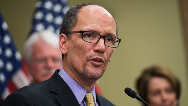 PHOTO: Labor Secretary Thomas Perez, speaks at an event in the Capitol Visitor Center to call on the minimum wage to be increased to $10.10 per hour, April 3, 2016, in Washington.