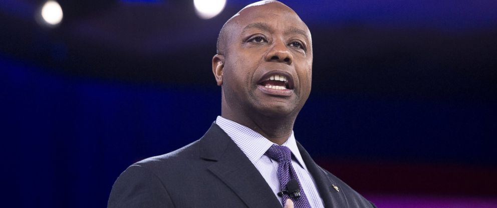 PHOTO: US Senator Tim Scott, Republican of South Carolina, speaks during the annual Conservative Political Action Conference (CPAC) 2016 at National Harbor in Oxon Hill, Maryland, outside Washington, March 3, 2016.