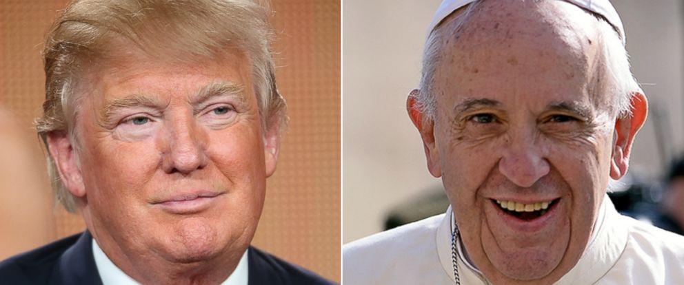 PHOTO: Donald Trump speaks onstage during the The Celebrity Apprentice panel discussion at the NBC/Universal on Jan. 16, 2015 in Pasadena, Calif. and Pope Francis arrives in St Peters square at the Vatican on Sept. 9, 2015 in Rome.