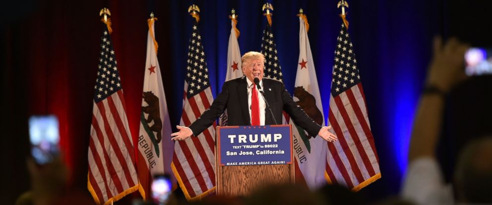 PHOTO: Republican presidential candidate Donald Trump speaks during a rally at the San Jose Convention Center in San Jose, California, June 2, 2016.